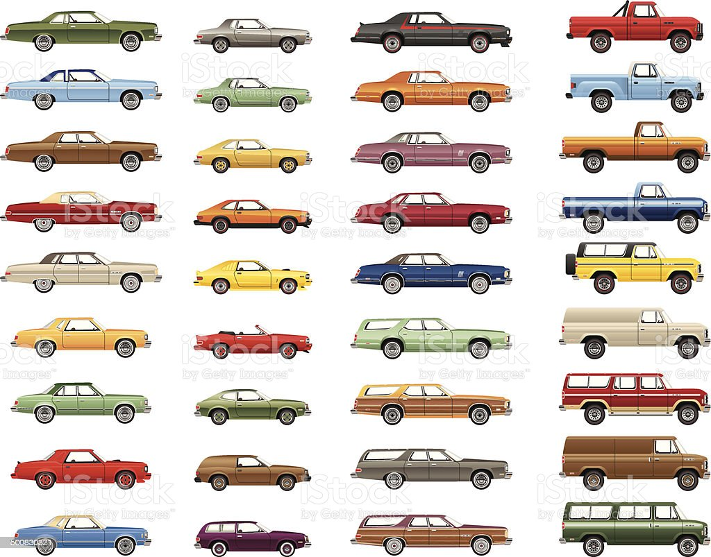 Vintage Car Lineup vector art illustration