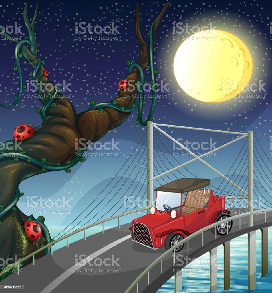 vintage car passing across the bridge royalty-free stock vector art