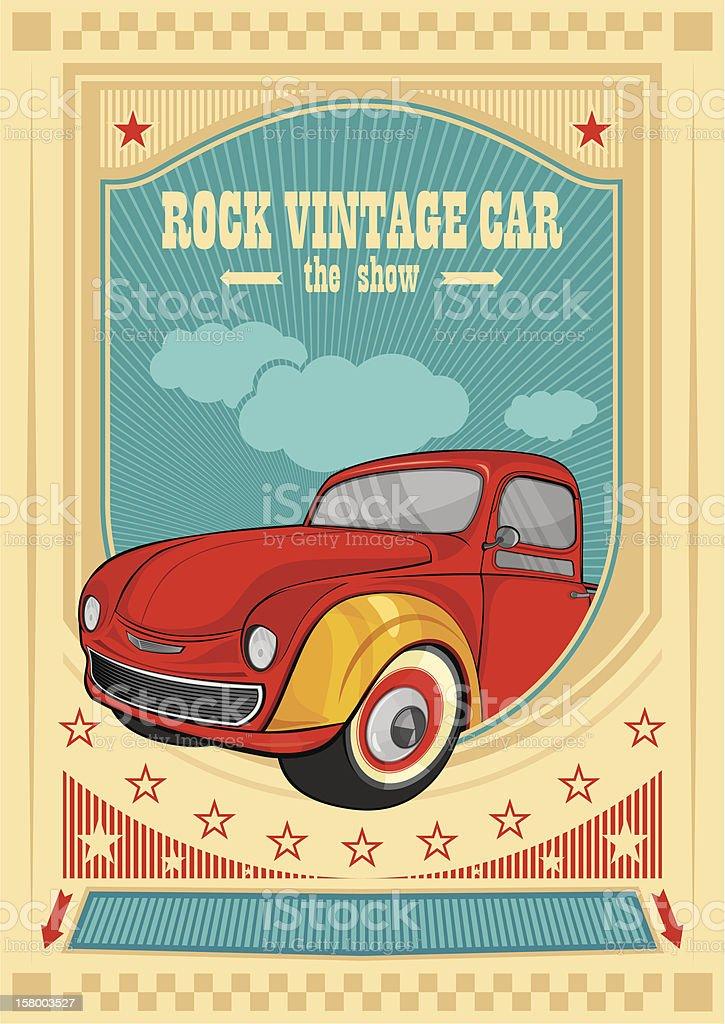 Vintage car poster vector art illustration