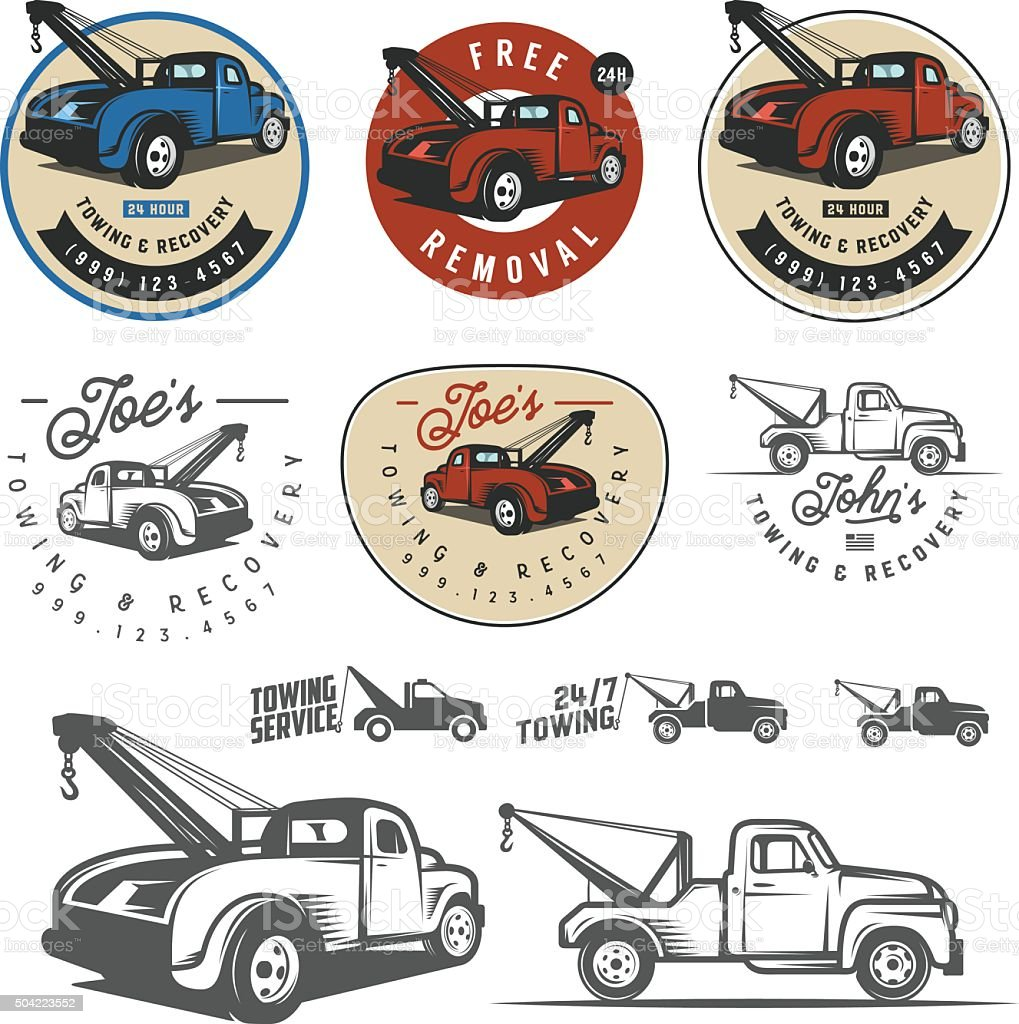 Vintage car tow truck emblems, labels and design elements vector art illustration
