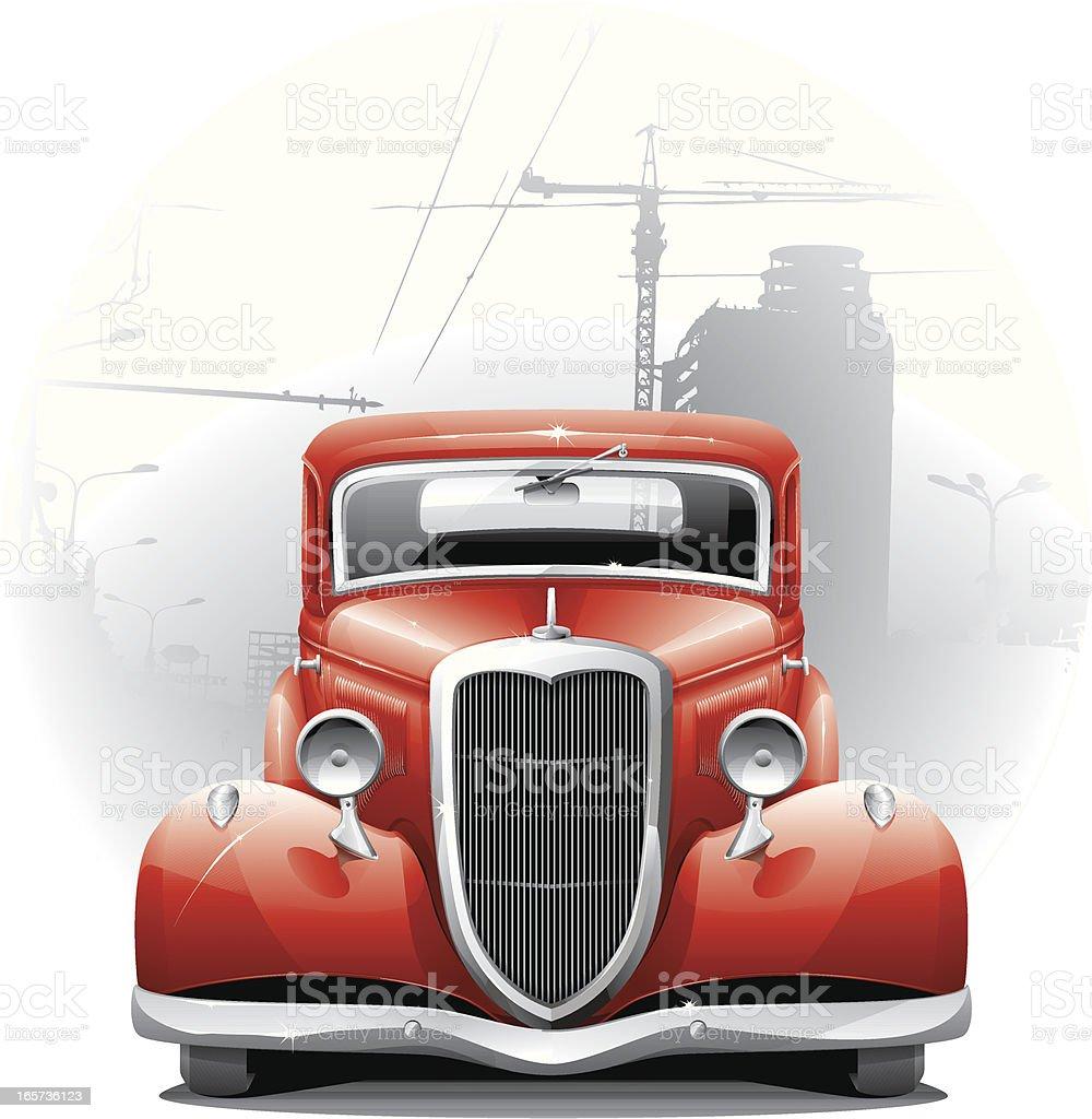 vintage car vector art illustration