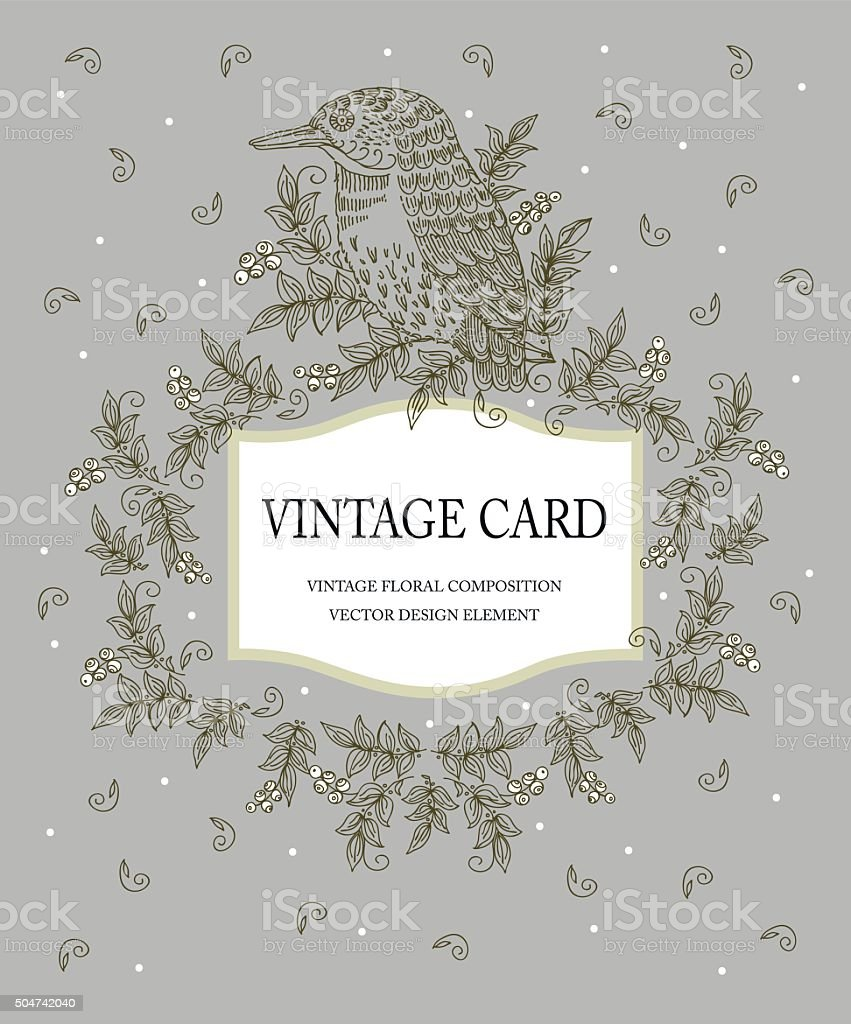 Vintage card in pastel colors with a stylized bird. Vector vector art illustration