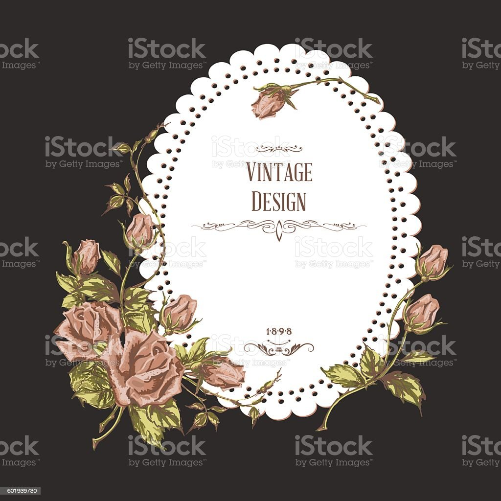 vintage card on dark background vector art illustration