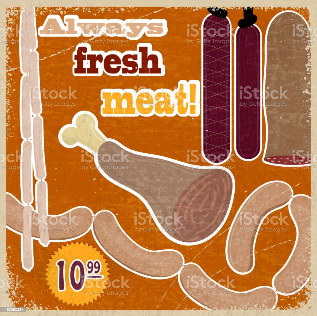 Vintage card with a picture of meat products vector art illustration