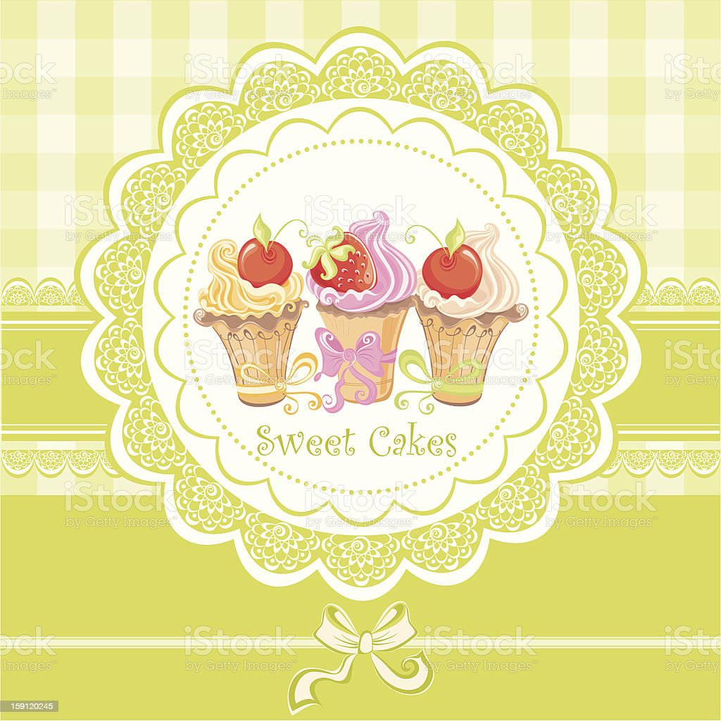 Vintage card with cupcake royalty-free stock photo