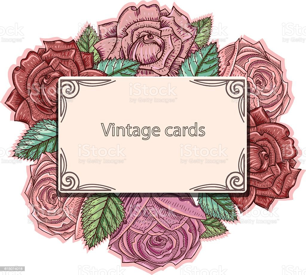 Vintage card with faded roses vector art illustration