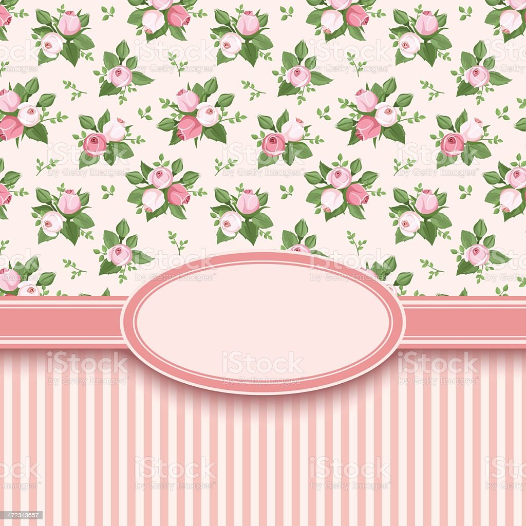 Vintage card with roses and stripes. Vector illustration. royalty-free stock vector art