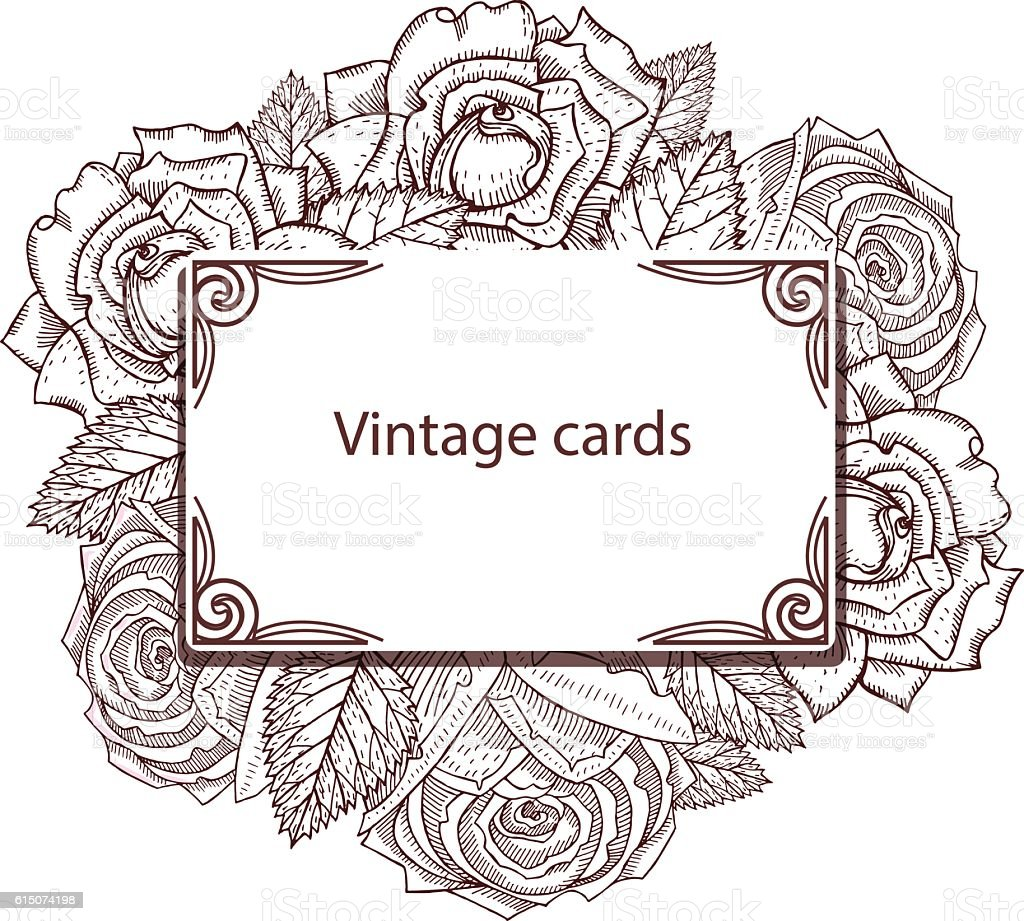 Vintage card with roses in shades of brown vector art illustration