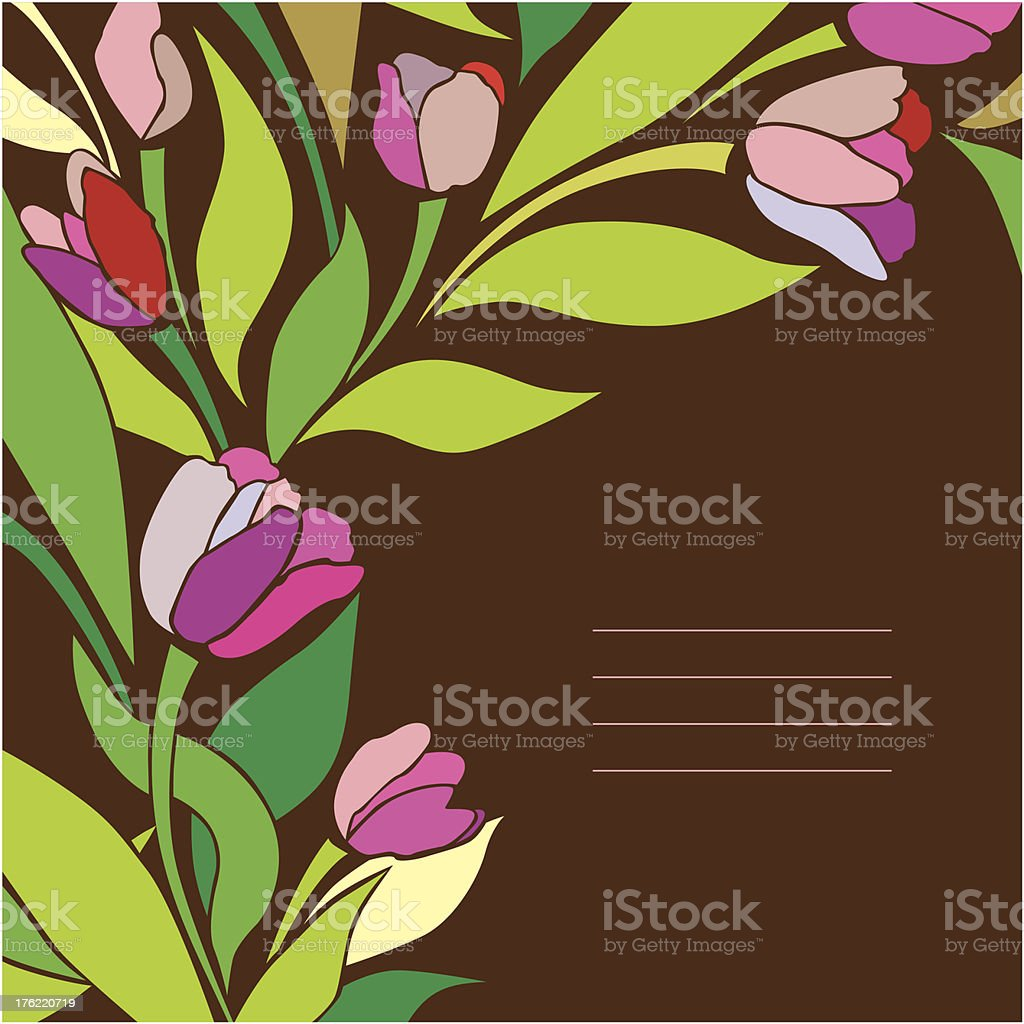 Vintage card with tulips royalty-free stock vector art
