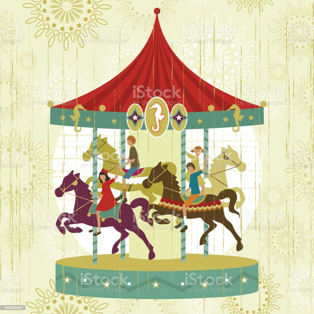 Vintage carousel funfair royalty-free stock vector art