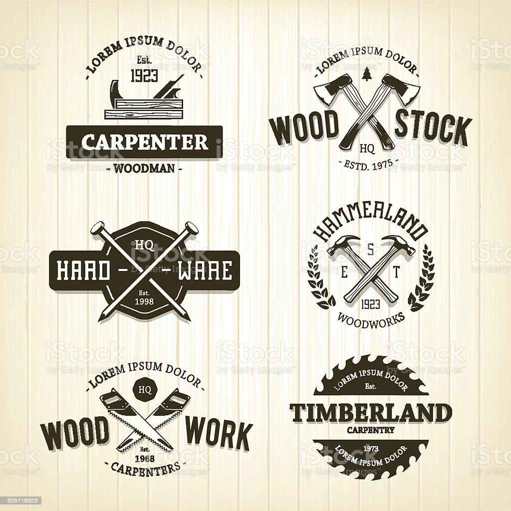 Vintage Carpentry Emblems vector art illustration