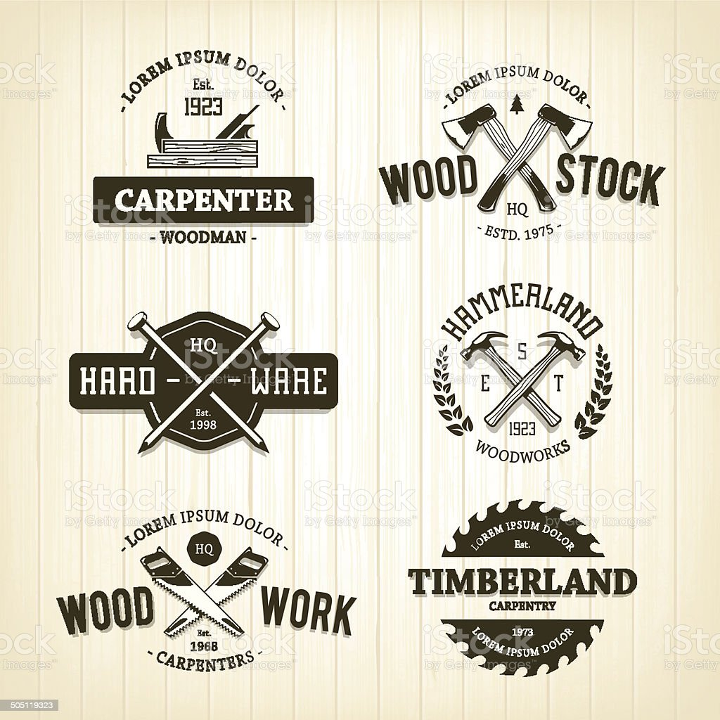 Vintage Carpentry Emblems vector art illustration