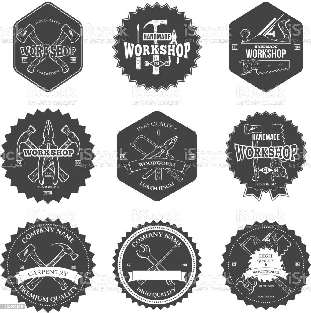 Vintage carpentry tools, labels and design elements vector vector art illustration