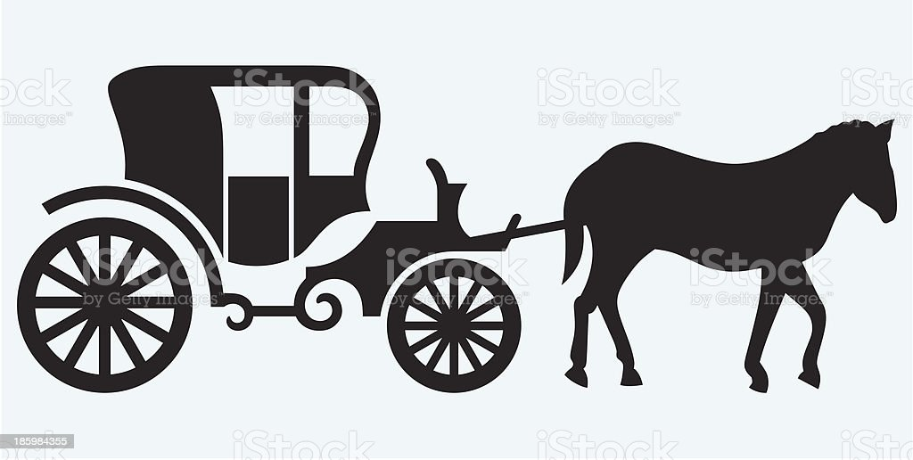Vintage carriage and horse-drawn vector art illustration