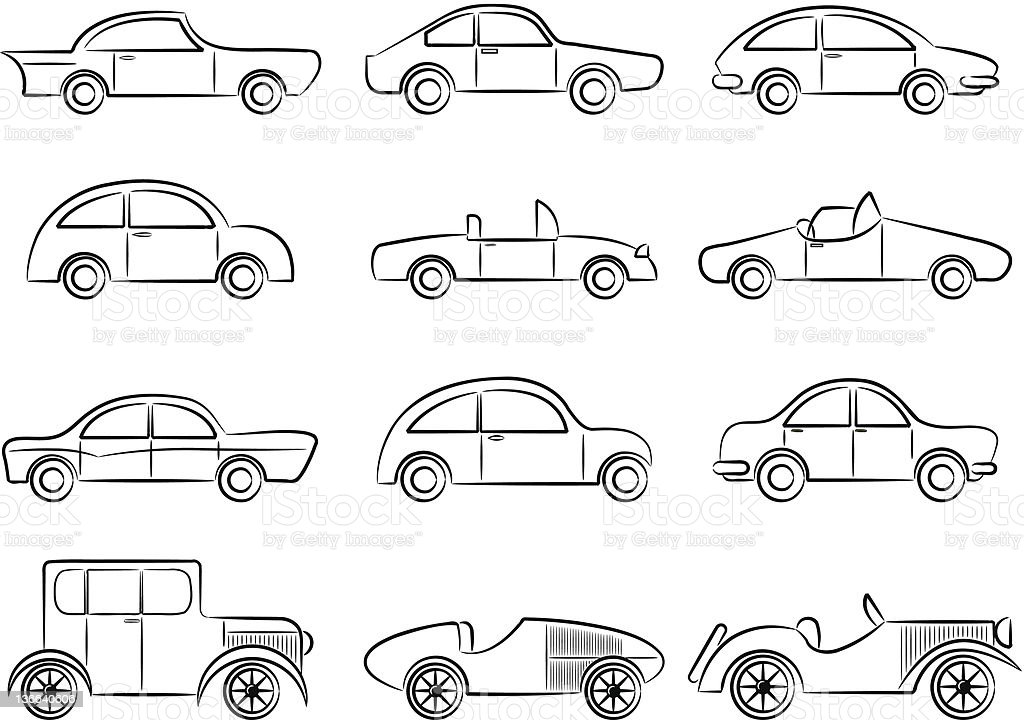 Vintage cars icons set royalty-free stock vector art