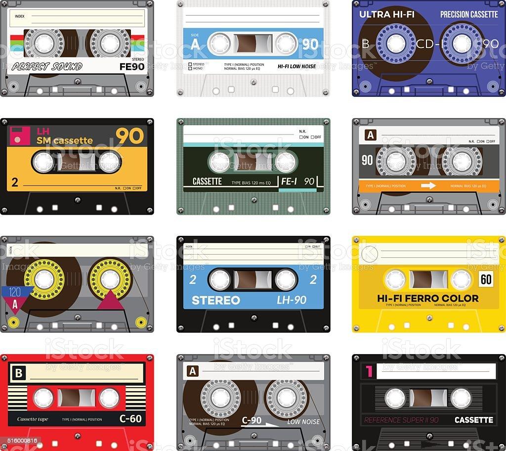 Vintage cassette tape vector art illustration