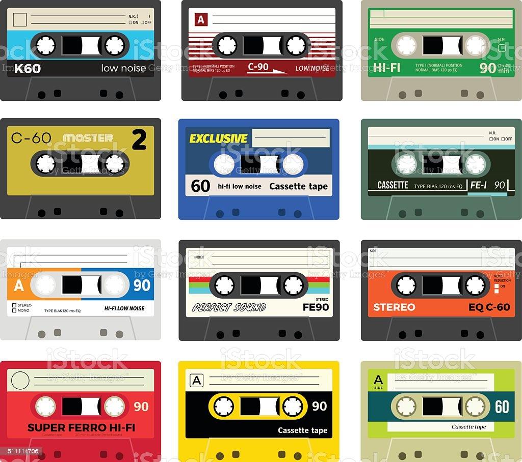 Vintage cassette tapes vol 1 vector art illustration