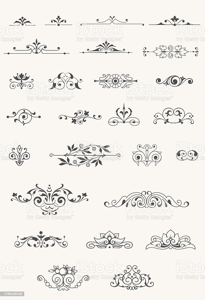Vintage centered ornaments royalty-free stock vector art