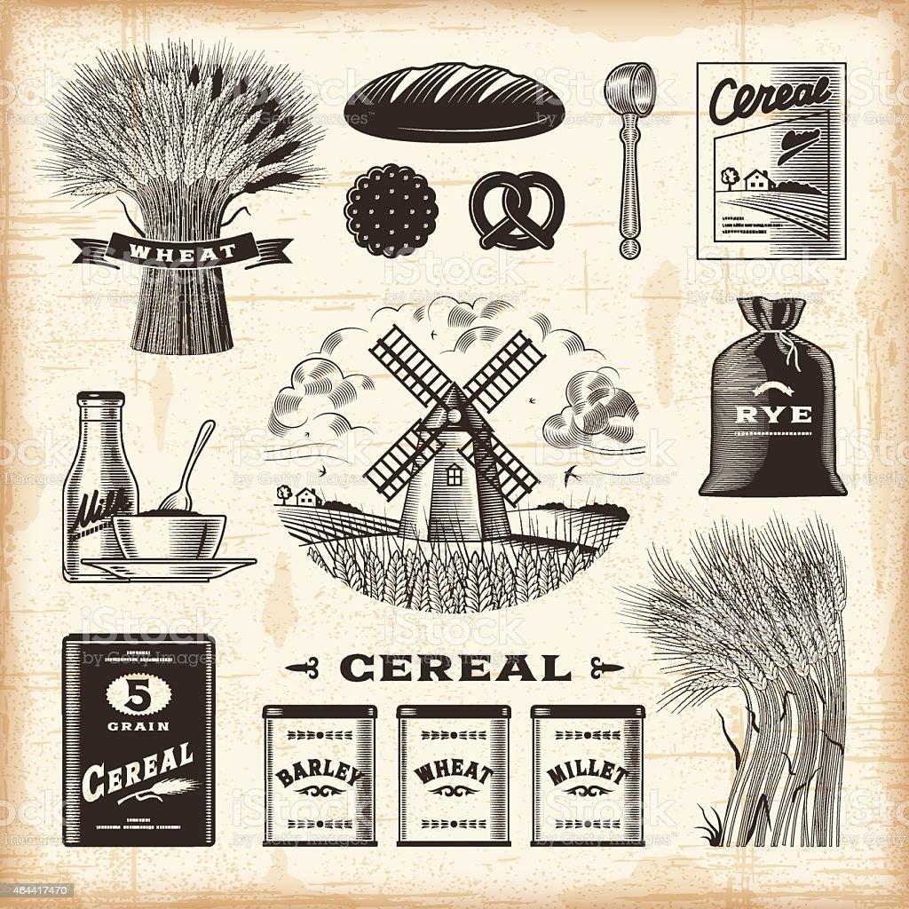Vintage cereal set vector art illustration