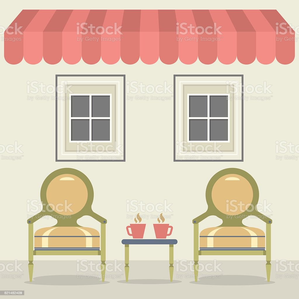 Vintage Chairs Set With Coffee Under Awning And Windows vector art illustration