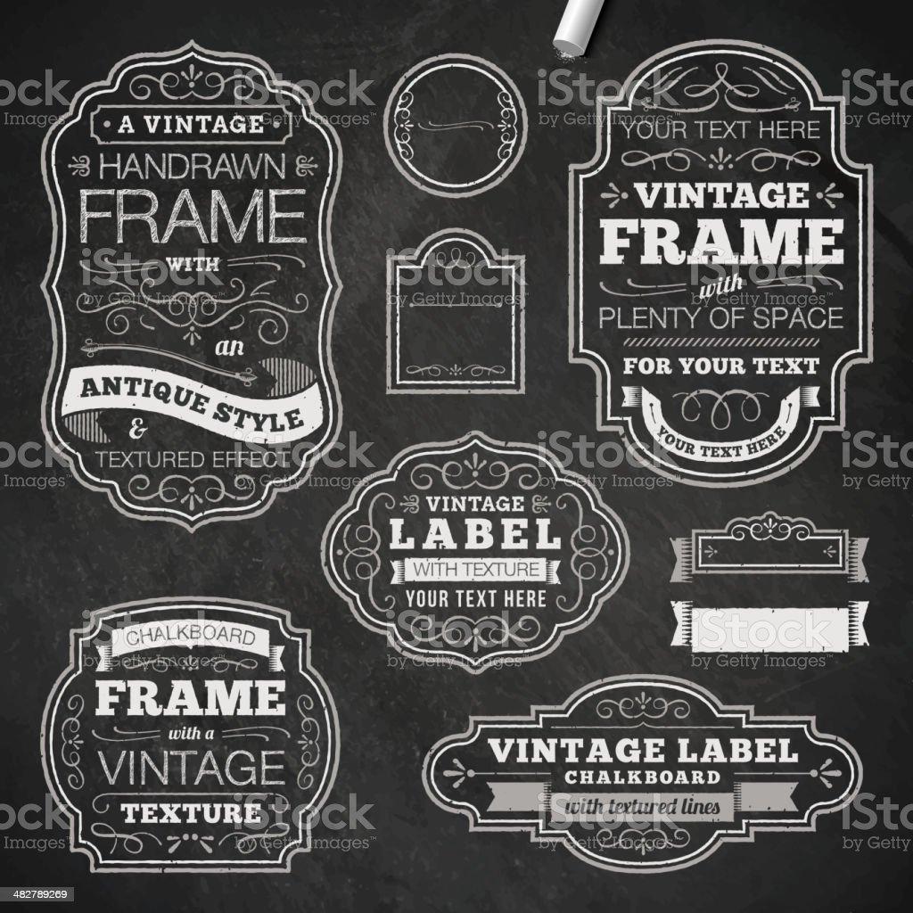 Vintage chalk frames vector art illustration