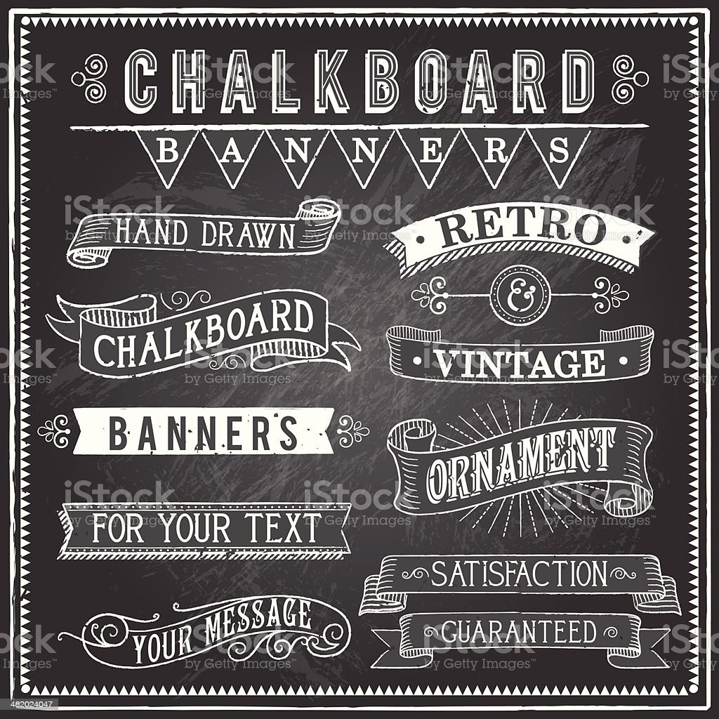 Vintage Chalkboard Banners vector art illustration