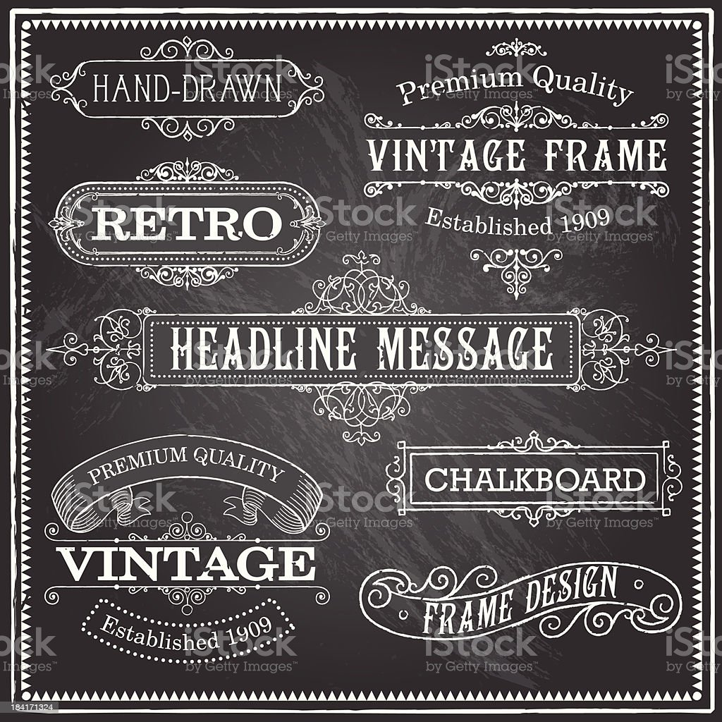 Vintage Chalkboard Frames and Ornaments royalty-free stock vector art