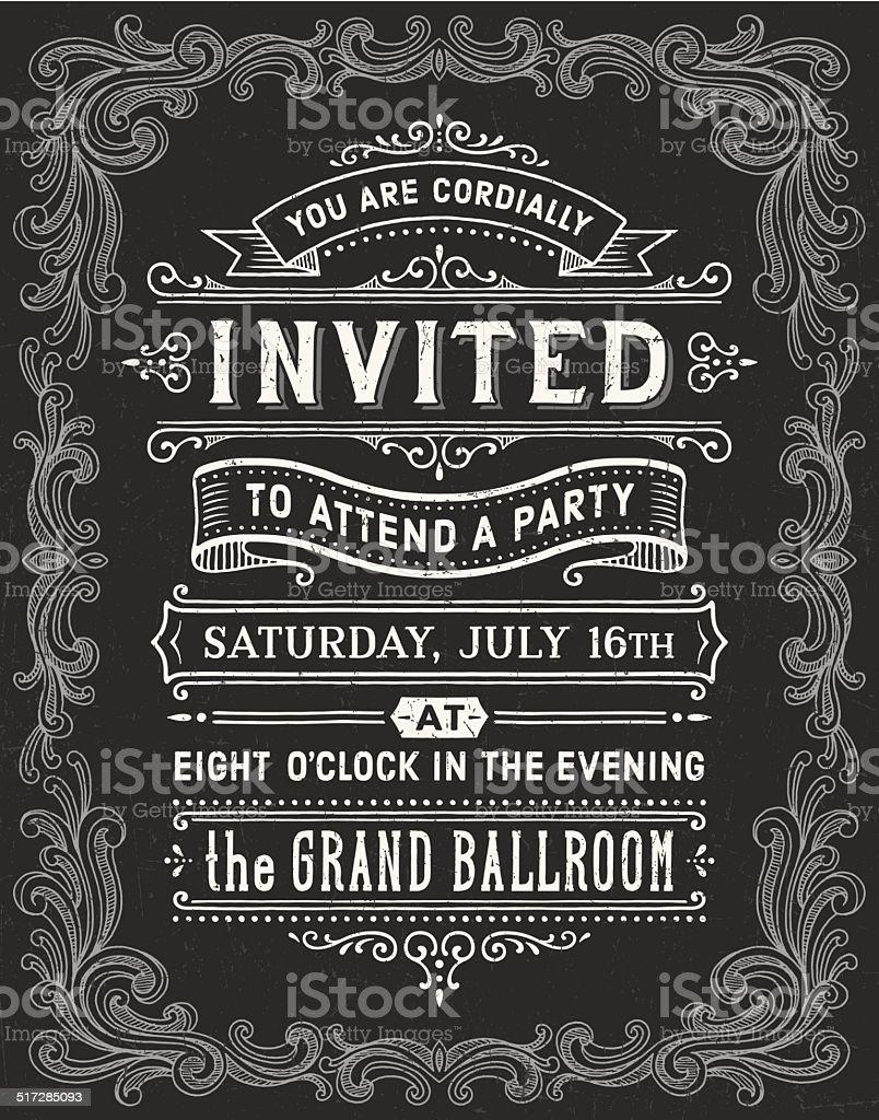 Vintage Chalkboard Invitation vector art illustration