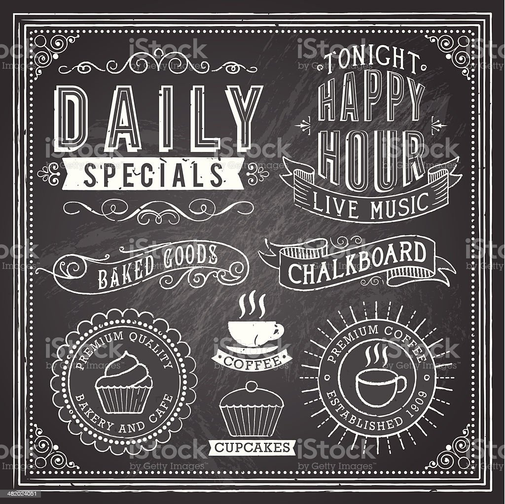 Vintage Chalkboard Ornaments vector art illustration
