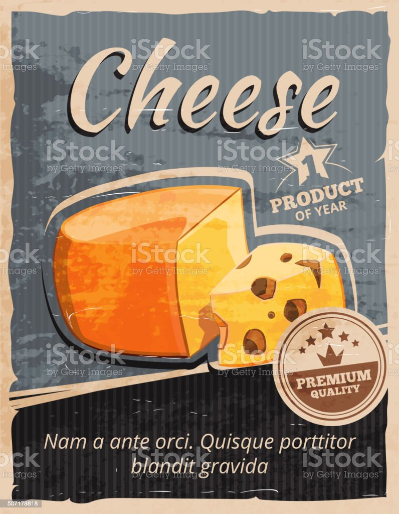 Vintage cheese vector poster vector art illustration