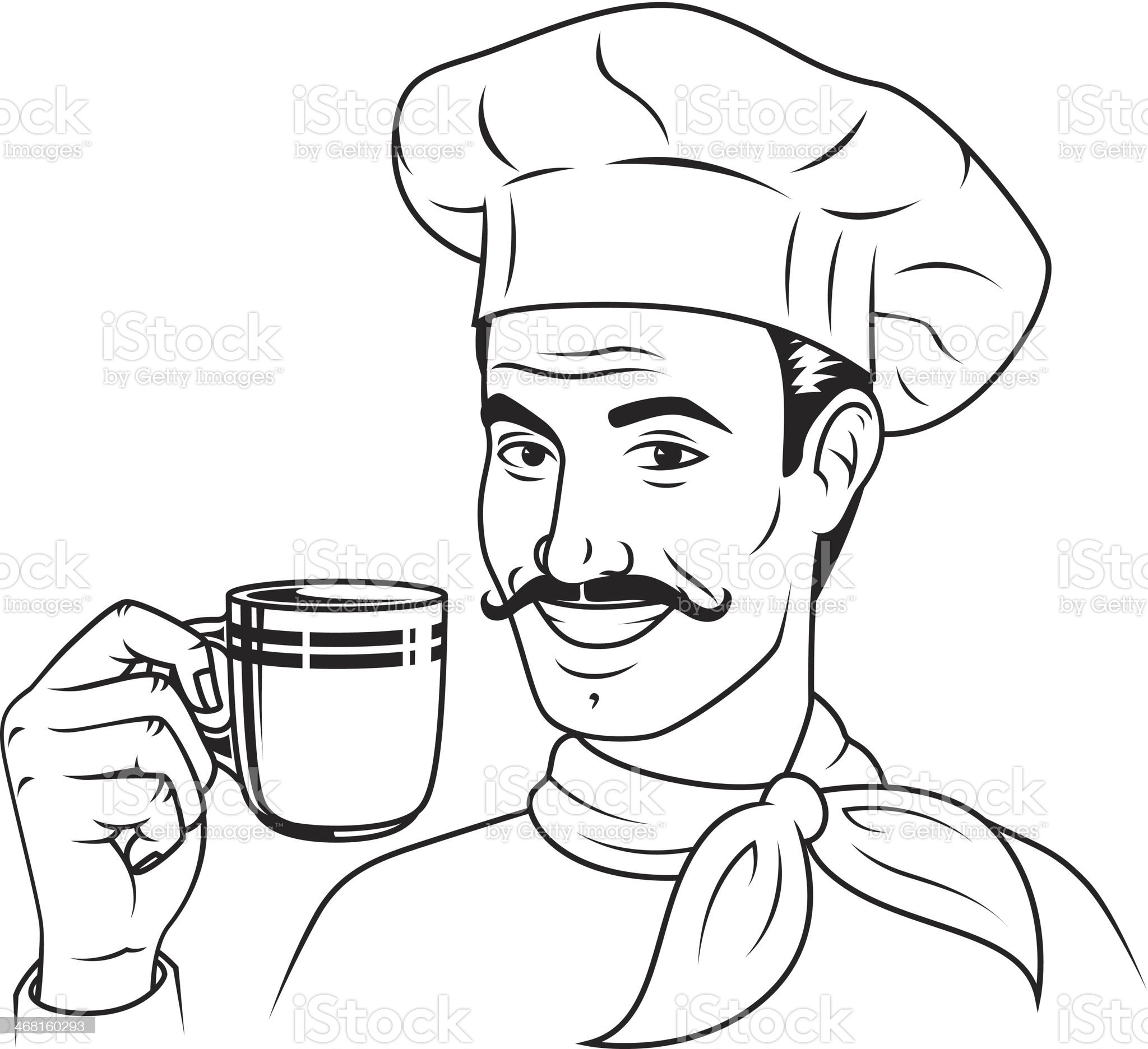 Vintage Chef with Coffee royalty-free stock vector art