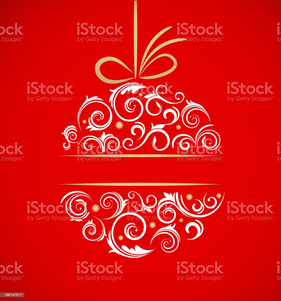 Vintage Christmas ball with retro ornaments vector art illustration