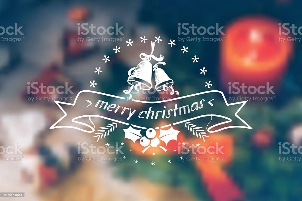 vintage christmas bells line ornament on blurred christmas table vector art illustration