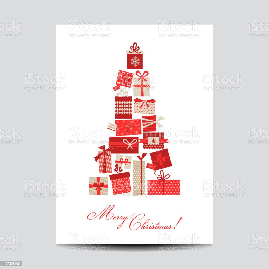 Vintage Christmas Card - Christmas Tree from Gifts vector art illustration