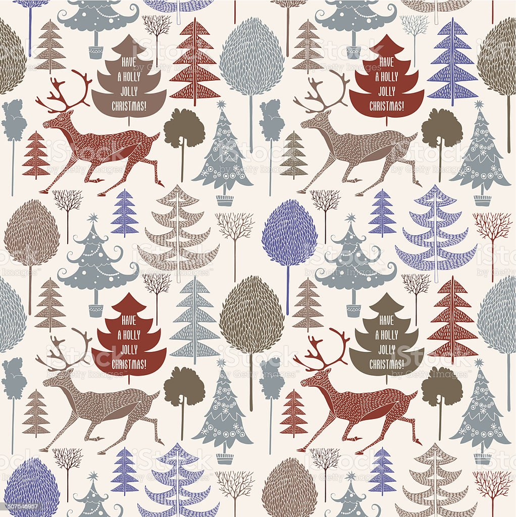 Vintage Christmas card. Reindeer and christmas trees. Seamless pattern background. royalty-free stock vector art
