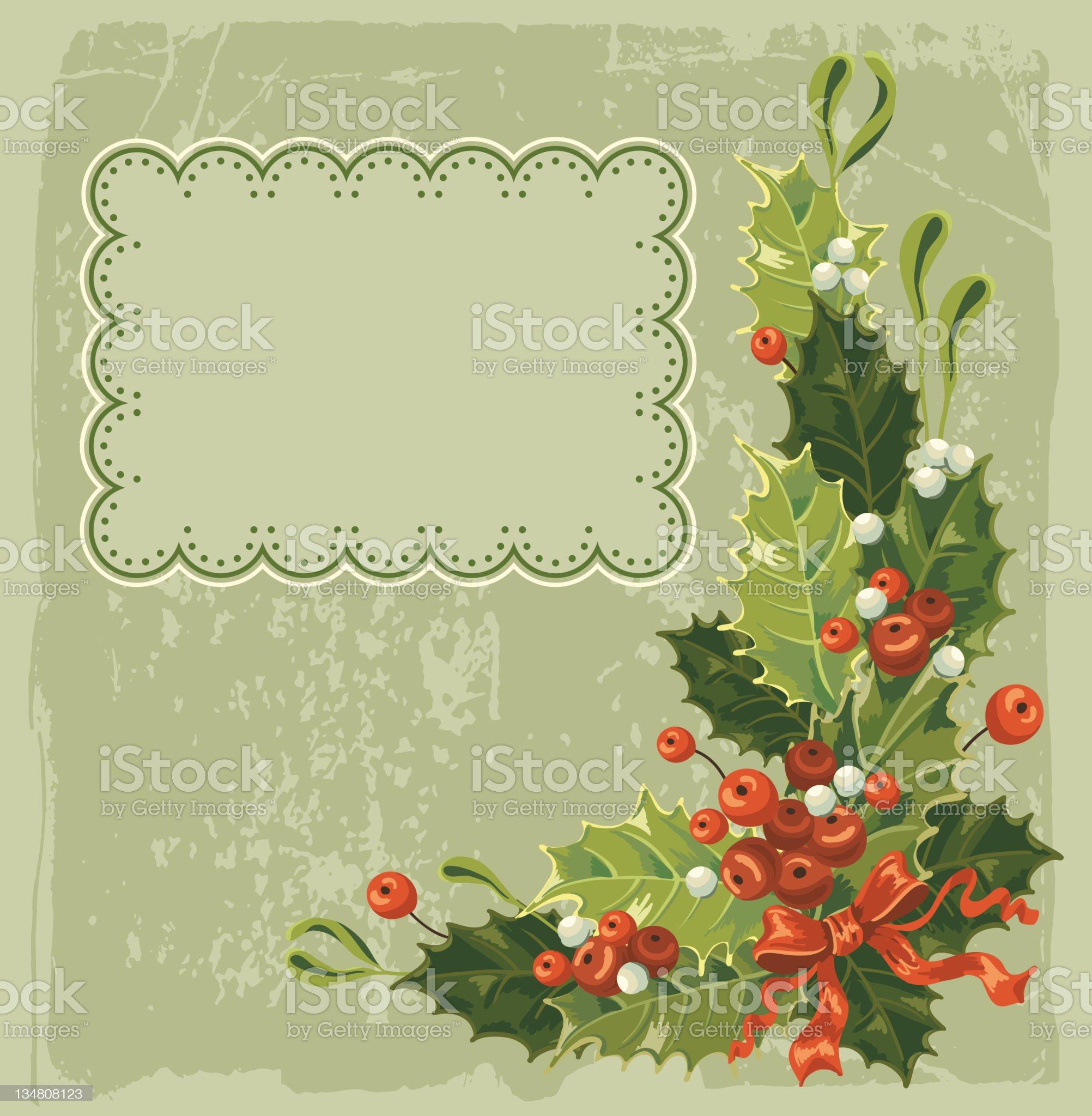 Vintage Christmas card royalty-free stock vector art