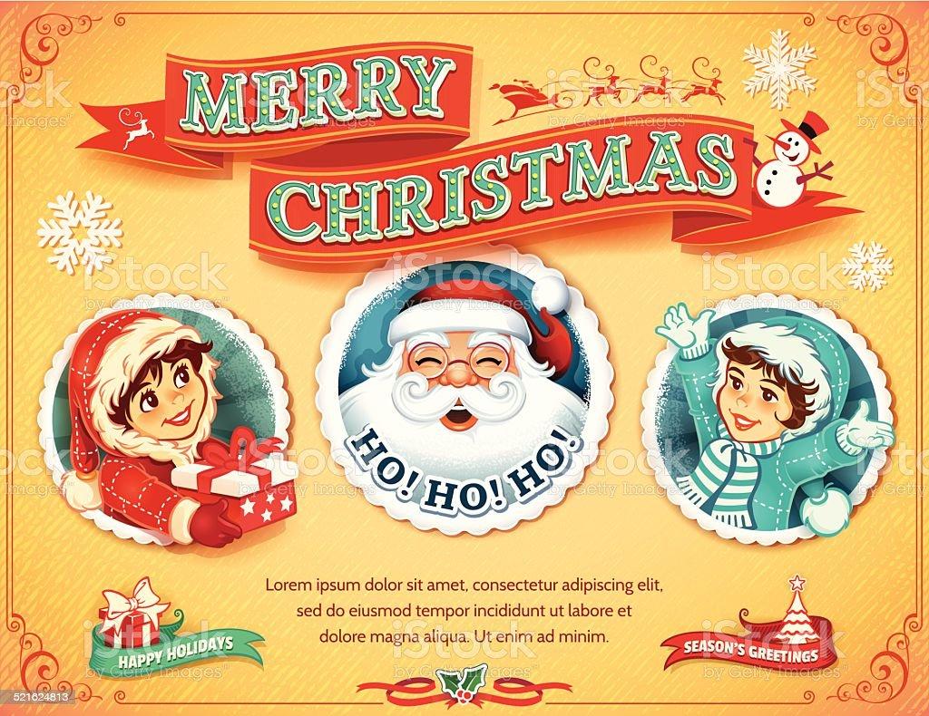 Vintage Christmas Card vector art illustration