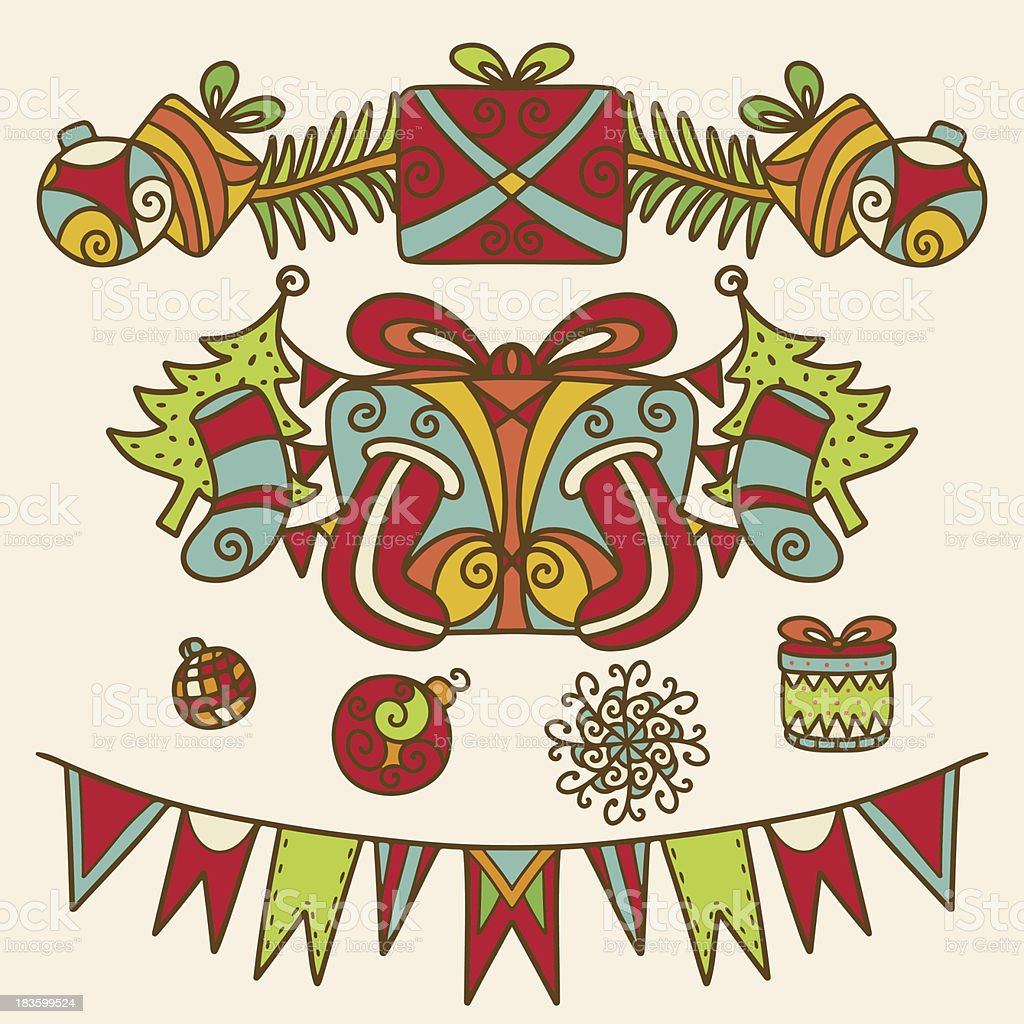Vintage Christmas decoration set royalty-free stock vector art