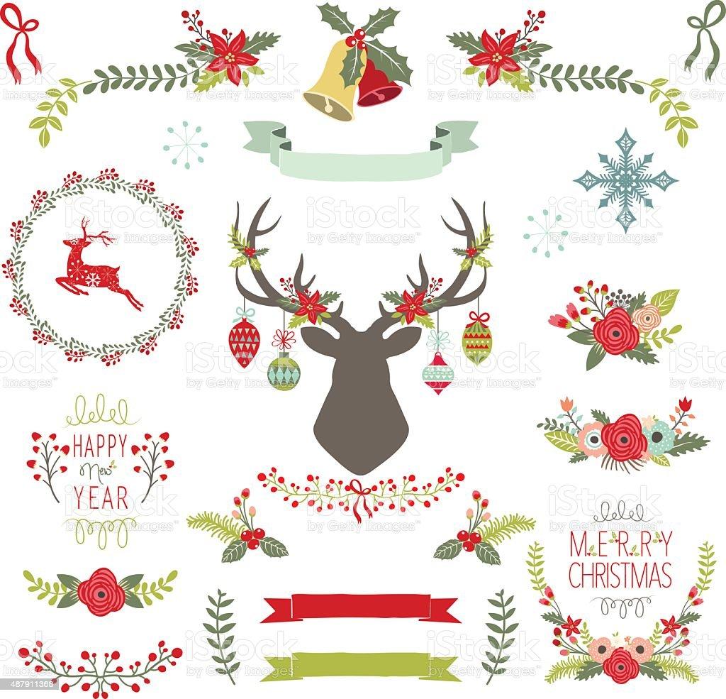 Vintage Christmas Elements- Illustration vector art illustration