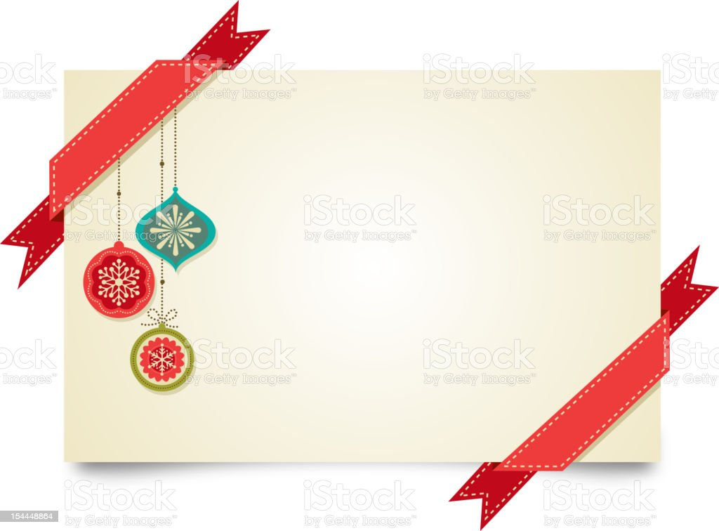 Vintage Christmas greeting card template with ornaments vector art illustration