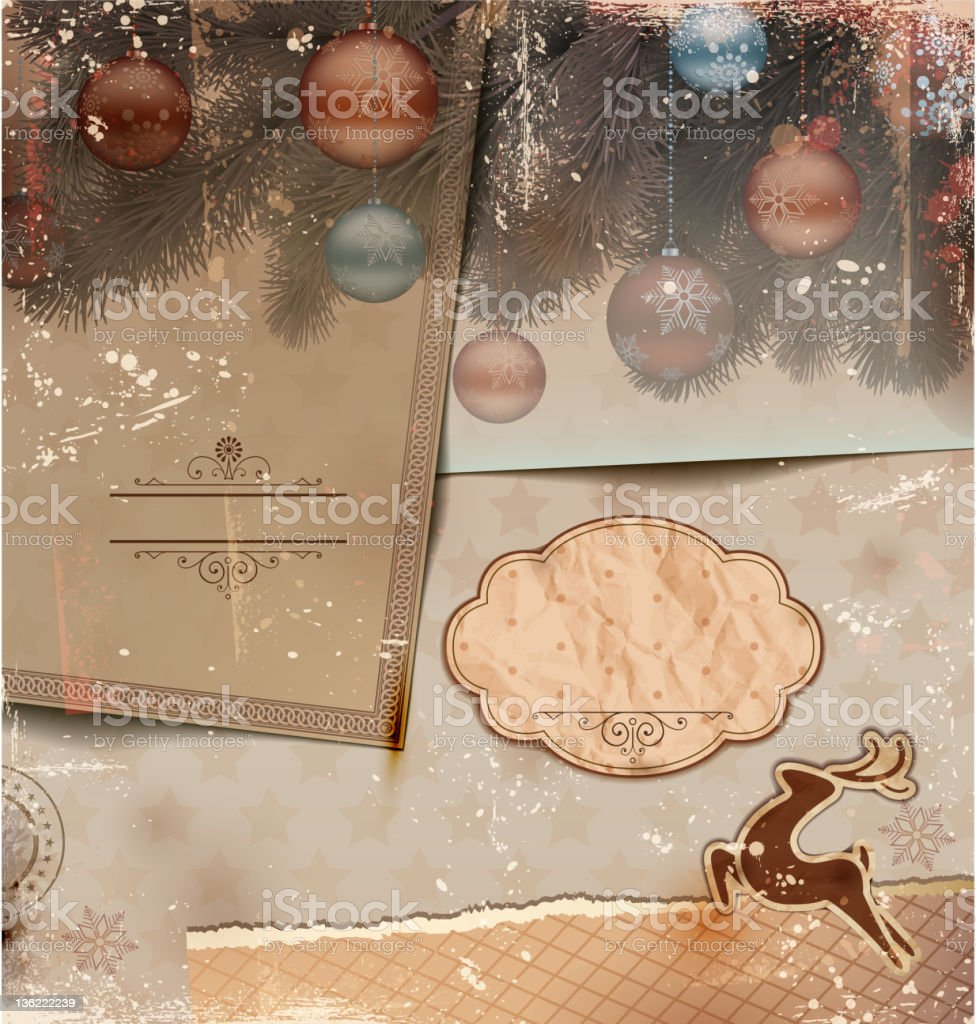 Vintage Christmas Illustration with grungy layered old papers. royalty-free stock vector art