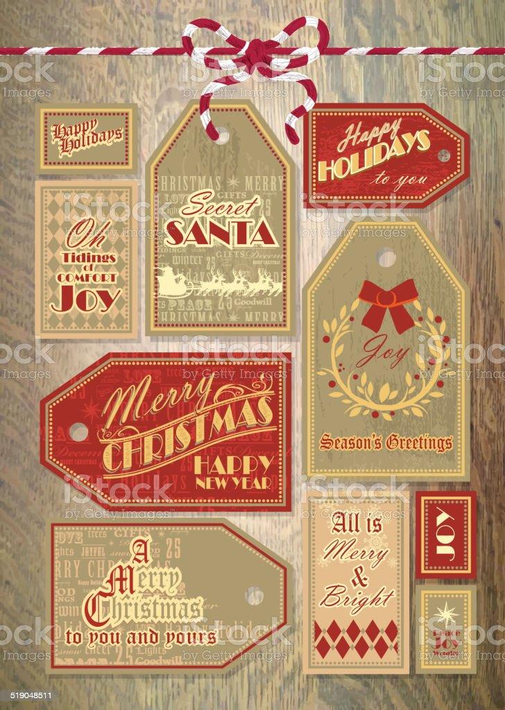 Vintage Christmas label tag designs on wood background vector art illustration