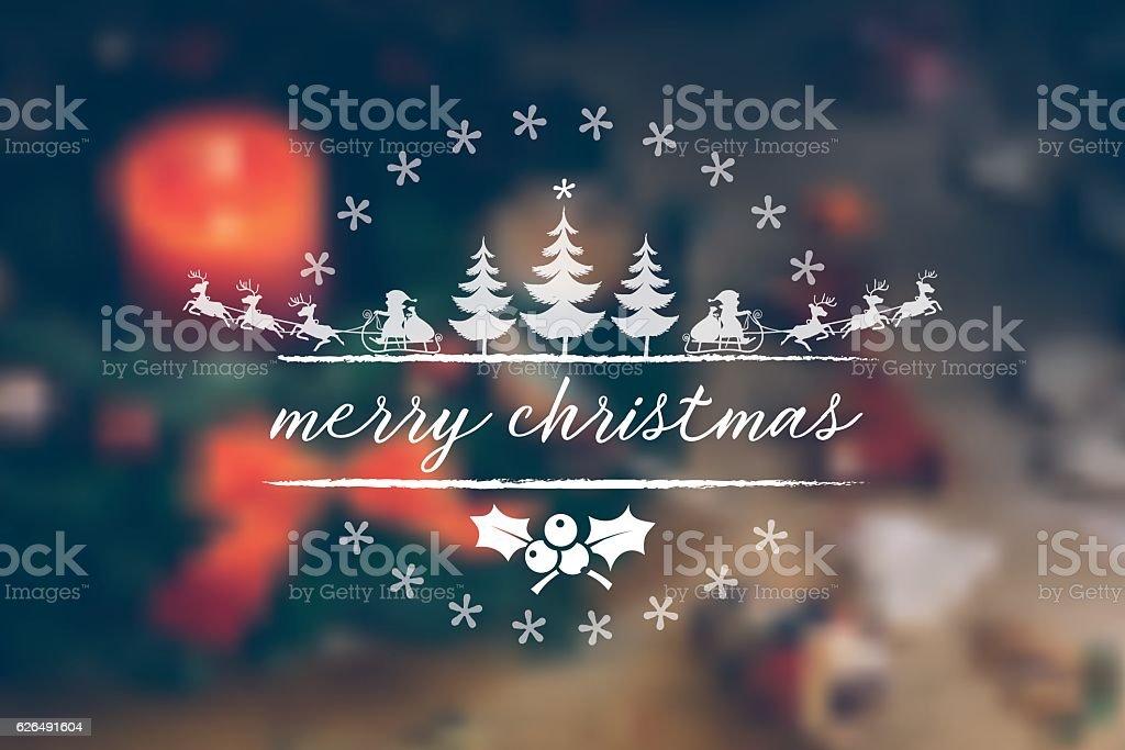 vintage christmas line illustration on blurred festive background vector art illustration