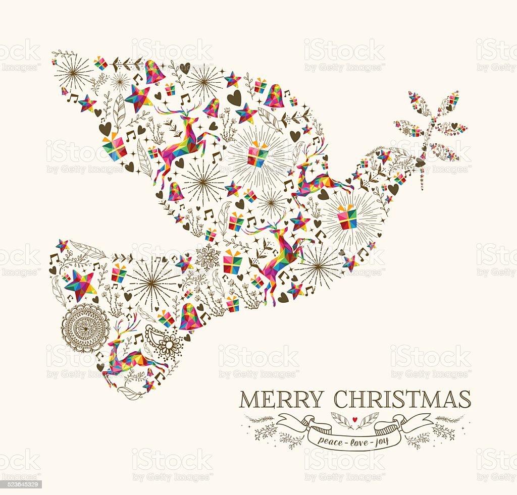 Vintage Christmas peace dove greeting card vector art illustration