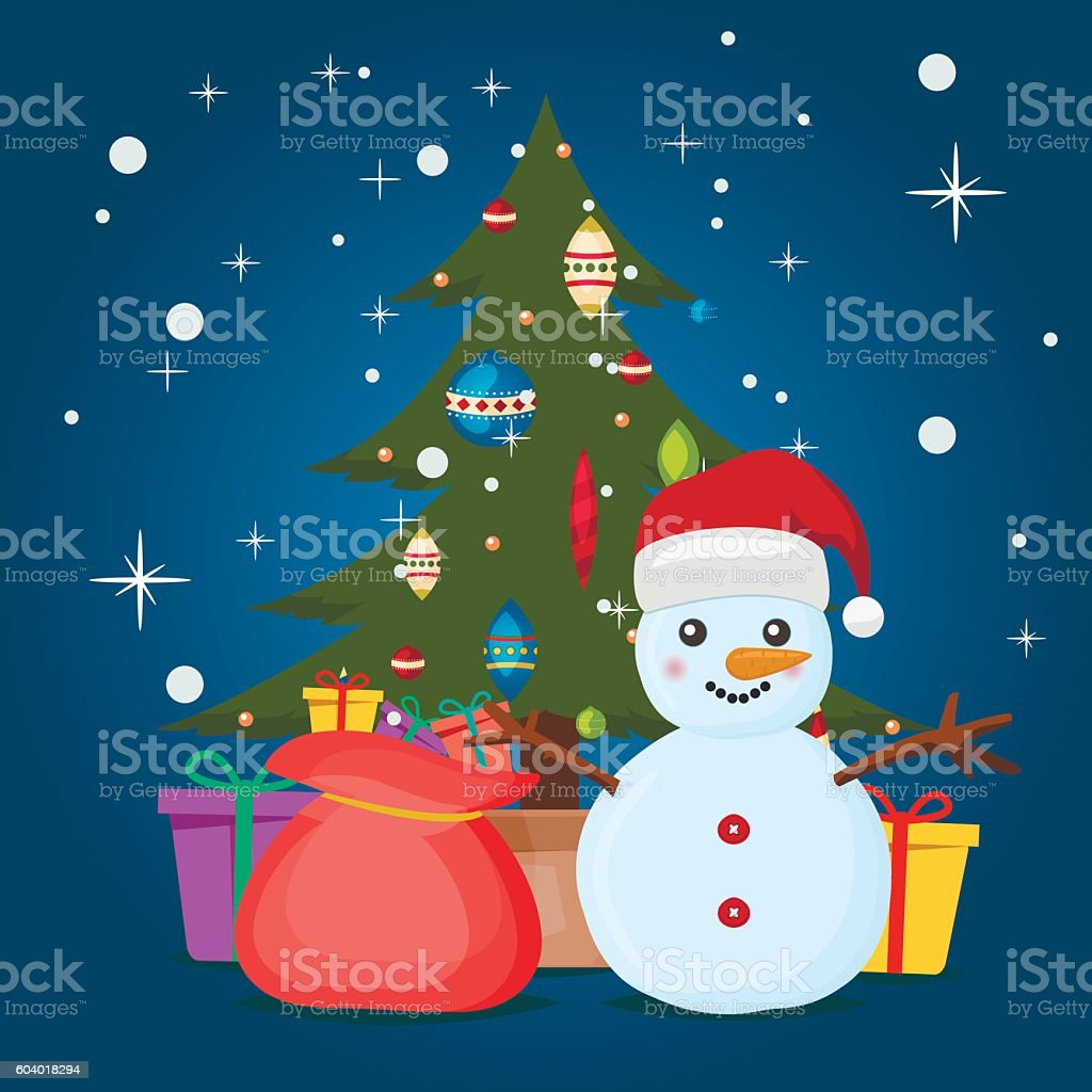 Xmas poster design - Vintage Christmas Poster Design With Snowman Vector Royalty Free Stock Vector Art