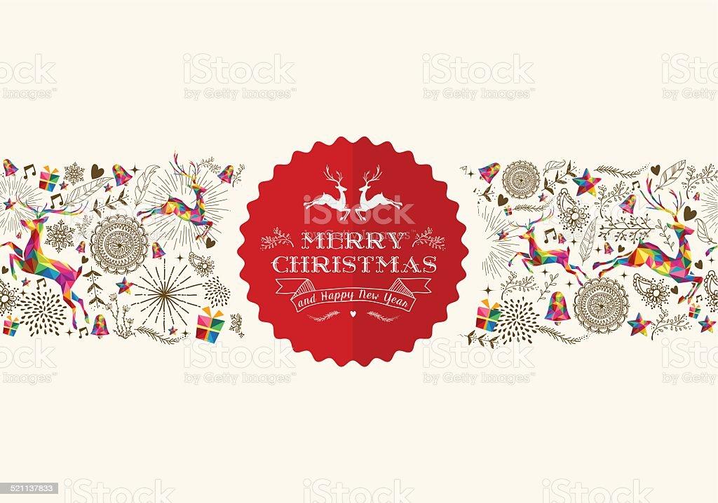 Vintage Christmas reindeer greeting card vector art illustration