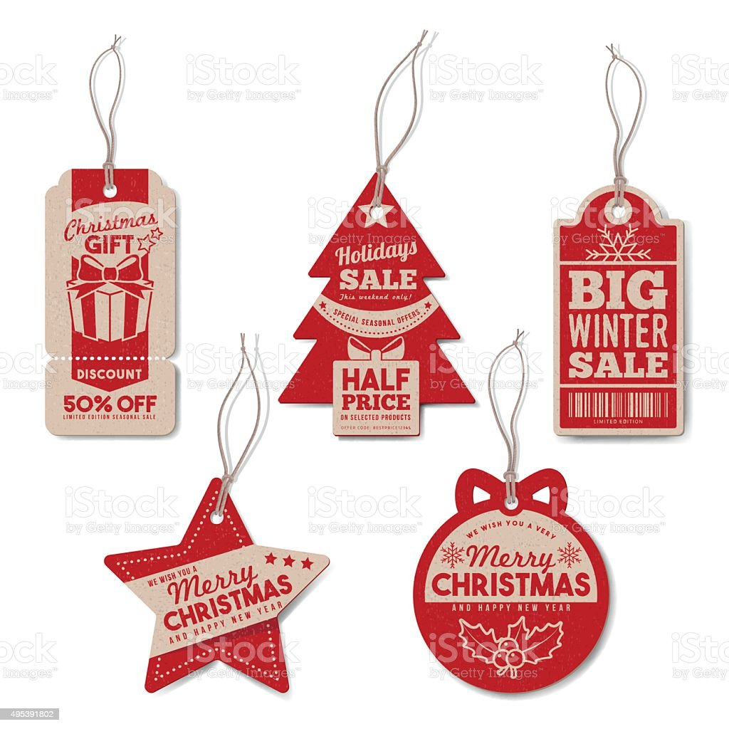 Vintage Christmas tags set vector art illustration