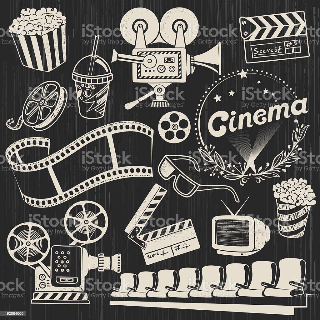Vintage Cinema Icons vector art illustration