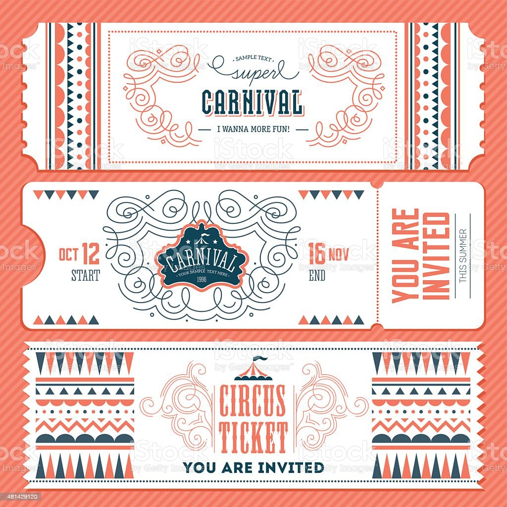 Vintage Circus banner collection. Ticket invitation. Vector illustration vector art illustration