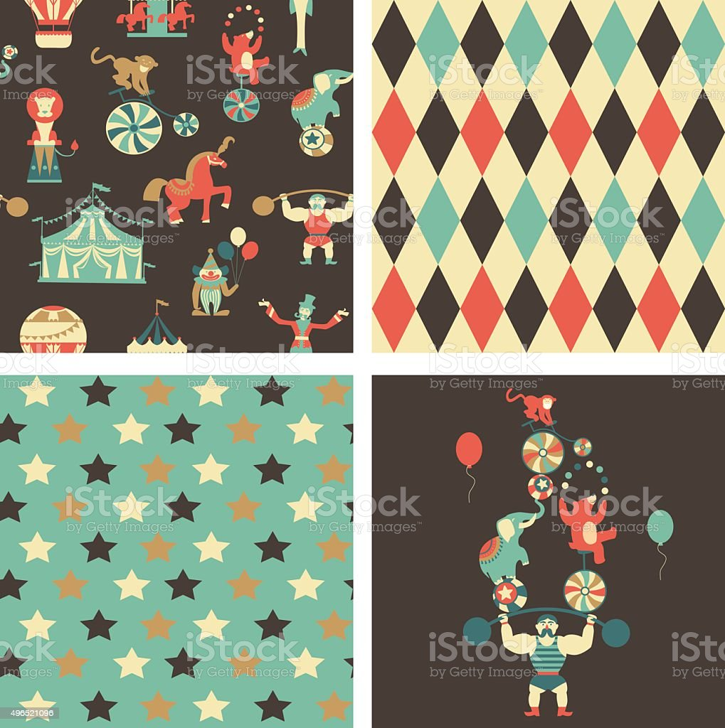 Vintage circus collection with carnival vector art illustration